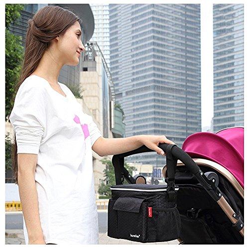 Candora ™ Landau Buggy Buddy bébé Organiseur pour poussette Sac de rangement isotherme de stockage Sac à bandoulière