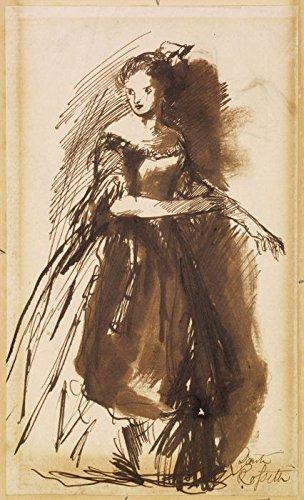 Das Museum Outlet–Weiblich–Frau in Abendkleid, ca1852–Leinwanddruck Online kaufen (101,6x 127cm)