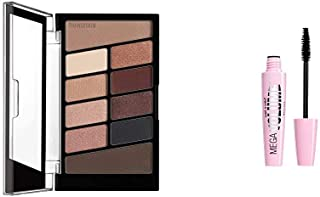 Wet n wild Color Icon Eyeshadow 10 Pan Palette, Nude Awakening with Mega Volume Mascara, Very Black, 0.21 Ounce