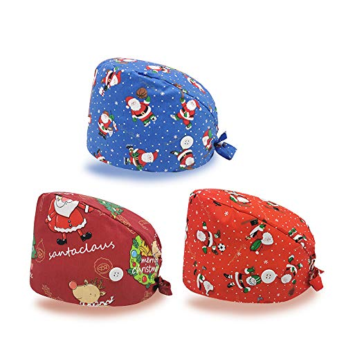 Christmas Printed Working Cap with Button and Sweatband Adjustable Bouffant Hats for Women Men (3 Pcs)