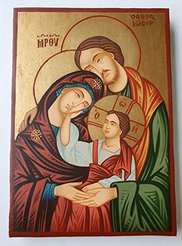 Pintado a mano más alta calidad, único y hermoso ortodoxo icono de la Sagrada Familia–Virgen María, niño Jesús Cristo, St. Joseph