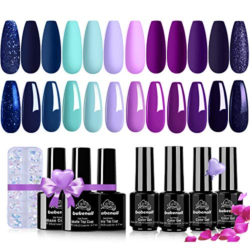 BabeNail Gel Nail Polish Set - 16PCS 12 Colors Blue Purple Glitter Nail Gel Futuristic Cyberpunk LED U V Gel Polish Kit - Soak Off 21+ Days Long Lasting Manicure Holiday Gift With Butterfly Sequins