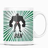 Taza con figura de cómic, superhéroes, fanáticos de cómic, taza infantil, hombre fuerte, taza de café, taza de nombre,...
