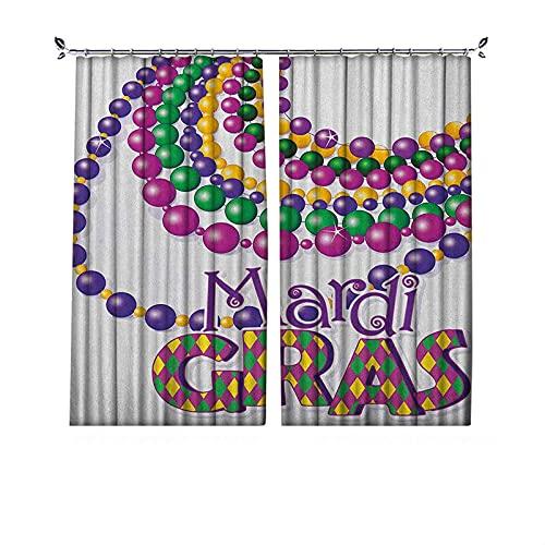 Cortinas de Mardi Gras con textura plisada, collares de fiesta con diseño de caligrafía Mardi Gras, adecuado para puertas correderas de vidrio, ventanas de cocina, ancho 200 x largo 200 cm, multicolor