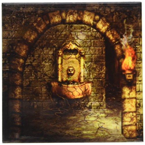 3dRose CST_11908_3 EIN mittelalterliches Zimmer verfügt über einen verzauberten Brunnen als Fackel brennt in der Nähe Einer Keramikfliesen-Untersetzer, 4er-Set