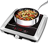 Techwood Hot Plate Electric Burner 1500W, Single Burner Portable Burner LED Infrared Electric Stove with Timer, Adjustable Temperature for Home Office Dorm Compatible with All Cookware - Upgraded Version