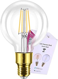 Smart Light Bulb Compatible with Alexa Google Home No Hub Required LED Filament Edison Bulbs Kekely E26 2700K G30 G95 Glass Clear (1 Pack)
