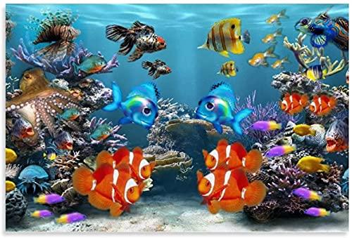 Leinwandbild Tier Poster Fisch Aquarium Bildschirmschoner Leinwand Wand Bilder Bild Kunstdruck Dekor Poster 40x60cm x1 Rahmenlos