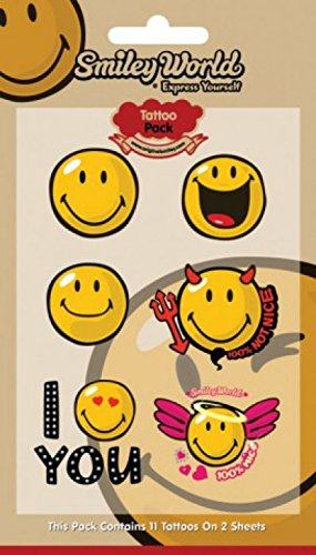 1art1 Smileys Paquet De Tatouages - 100% Nice, 11 Tattoos (17 x 10 cm)