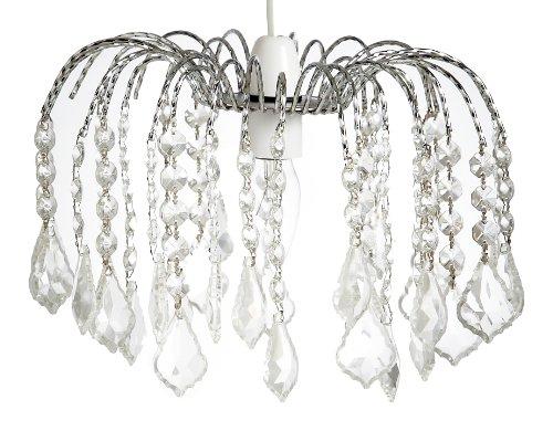 Lighting Web Co Lustre en verre à 3 rangs finition chromée Transparent