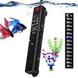 Betta Fish Tank Heater, 25W Mini Aquarium Heaters with 2 Artificial Plants 1 Stick-on Thermometer Strip Energy-efficient Water Warmer Temperature Controller Smart Thermostat for 3-5 Gallon Tank