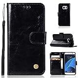 J&H - Funda para Samsung Galaxy S7 Duos (5,1 pulgadas), diseño vintage de piel sintética con cierre magnético, para Samsung Galaxy S7 Duos de 5,1 pulgadas, color negro