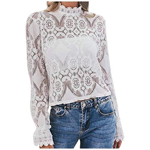 Longra Elegant Spitzenshirt Damen Bluse Langarmshirt Spitzenkragen Party Mode T-Shirt Langarm Spitzentop Sommerbluse mit Floraler Spitze Tops