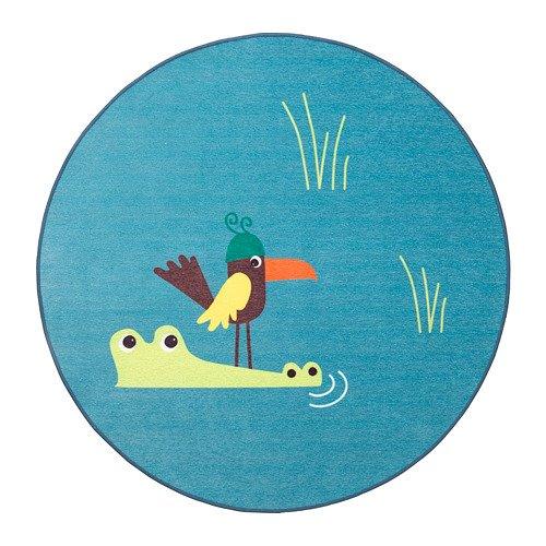 Ikea Djungelskog Teppich Flachgewebe Bird Blue 203.937.61 Größe 3 '3