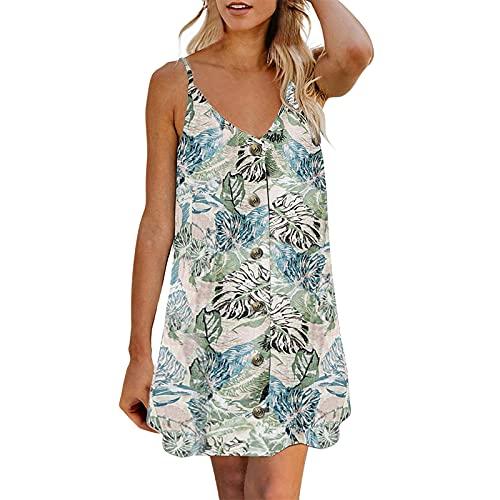 Dresses for Women, SHOBDW Ladies Summer Spaghetti Strap Button Down V Neck Sleeveless Female Casual Boho Mini Dress Long Blouse(#4 Green,S)
