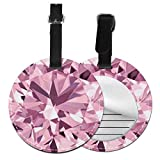 Etiquetas de Equipaje de Cuero Sintético Identificación de Nombre con Cubierta de Privacidad Trasera para Maleta de Viaje Piedras Preciosas de Diamante Rosa