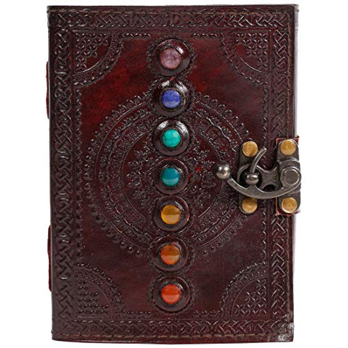 Seven Stone Leather Journal 7x5 Inches Book of Shadows Handmade Seven Chakra Celtic Embossed With Lock Clasp Prop Vintage Daily Notepad Unlined Paper Sketchbook & Writing Notebook