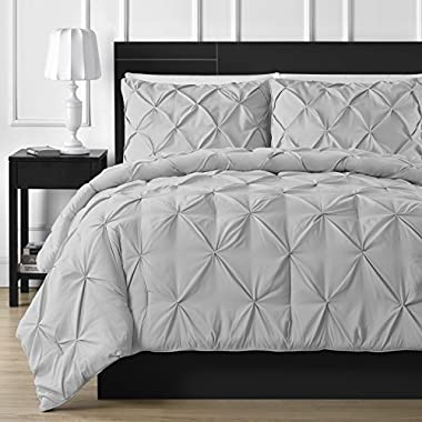 Double Needle Durable Stitching Comfy Bedding 3-piece Pinch Pleat Comforter Set All Season Pintuck Style (Queen, Light Grey)
