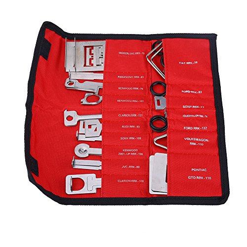 Nicoone Kit de Llave de Instalación de Esterieo de Radio de Coche 38 Piezas para Mercedes BMW Audi Ford Red Bag