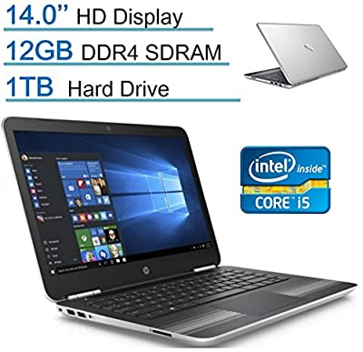 HP Pavilion Intel Dual Core Laptop PC, 12GB DDR4 RAM,1TB HDD, Silver, Windows 10 Home