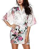 HonourSport-Kimono Japonais Court Sexy Robe de Chambre à Fleurs-Femme