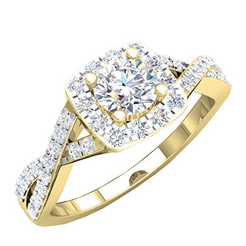 Dazzlingrock Collection 1.55 Carat (ctw) 10K Round Cubic Zirconia CZ Halo Engagement Ring 1 1/2 CT, Yellow Gold, Size 7
