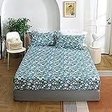 HAIBA Sábana bajera ajustable básica, funda de colchón para cubrecolchón con somier, sábana de algodón (180 x 200 cm + 25 cm)