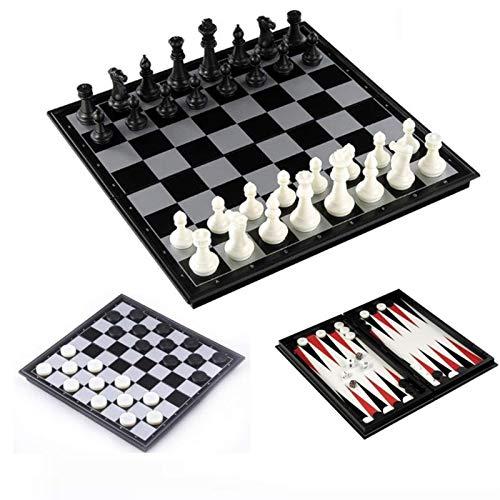 GXY Ajedrez Conjunto de Ajedrez Y Verificadores Y Backgammon 3 en 1 Conjunto de Ajedrez de Plástico Juego de Ajedrez de Viaje Juego de Ajedrez Magnético Piezas de Ajedrez Plegable Conjunto de Ajedrez