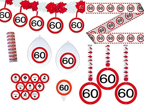 Unbekannt 24-TLG. Partyset 60. Geburtstag Dekoset Dekobox - Verkehrschild - Girlanden, Luftballons