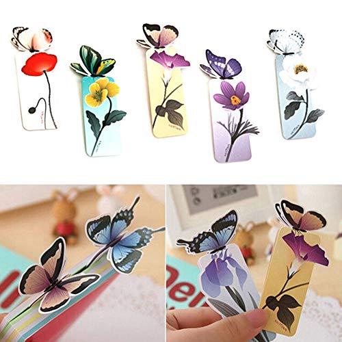 10 piezas de mariposas marcapáginas marcador de libros clips de papel papelería accesorios de lectura – patrón al azar Qingsb