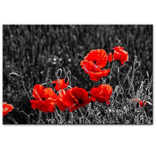 Moderne abstracte bloemen wandafbeeldingen linnen afbeeldingen rode bloemen moderne afbeeldingen op doek aan de muur top decoratieve afbeeldingen Cuadros -60x80 cm geen lijst