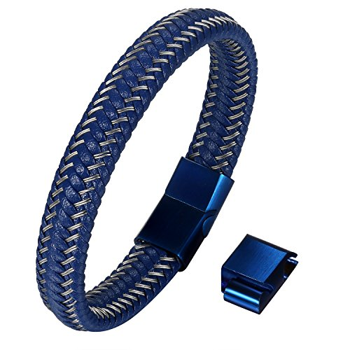 Cupimatch Leder Armband Herren Kordelarmband Geflochten Armband, 21cm 22cm Armreif Magnet Verschluss, Blau