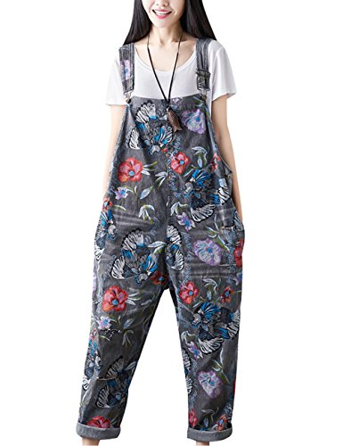 Youlee Damen Sommer Breites Bein Hose Denim Latzhose Overall Hosen Style 18