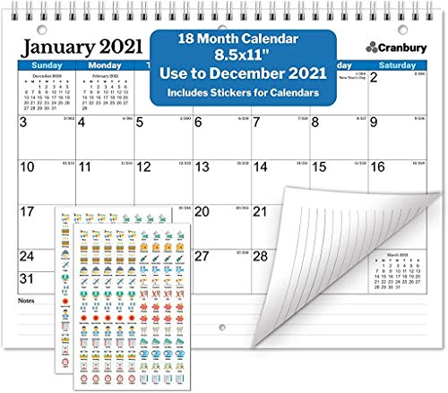 Small Wall Calendar 2020 (Blue) 8.5x11 Inch Monthly Wall Calendar, Use to December 2020, with Stickers for Calendars, Hanging Wall Calendar 2020 by Cranbury
