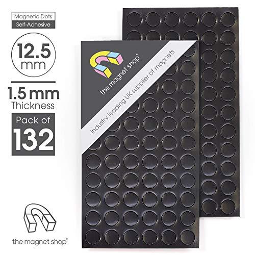 132x puntos Imán autoadhesivos [12,5mm diámetro] [elegir su espesor] Discos de redonda pequeña de grosor Sticky Craft imanes La Tienda de imán para frigorífico, 1.5mm thick