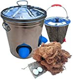 STOLTCO Poultry Feeder & Water Kit with Nesting Fiber and 2 Ceramic Eggs - Durable Rodent-Proof Spill-Proof Rain-Proof Feeder Holds 22lbs Feed (Kit 'n Kaboodle!)