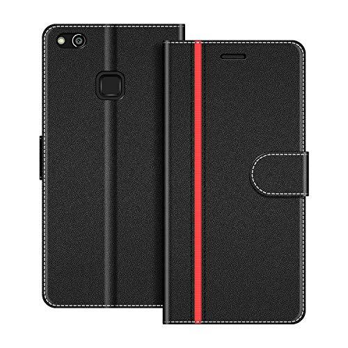 COODIO Handyhülle für Huawei P10 Lite Handy Hülle, Huawei P10 Lite Hülle Leder Handytasche für Huawei P10 Lite Klapphülle Tasche, Schwarz/Rot