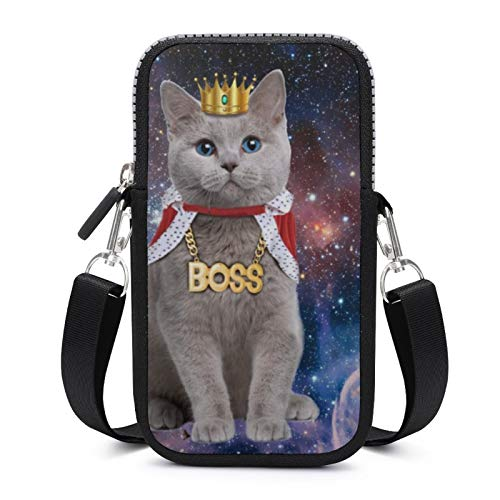 Cellphone Purse Crossbody with Removable Shoulder Strap Cat Crowns Wear-resistant Pouch Case for Money Waist Wallet Yoga Bags Women
