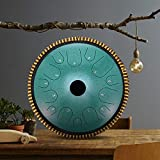 TOPQSC tambor de lengua de acero 14 notas tambor de mano 14 pulgadas instrumento de percusión con bolsa de transporte 2 baquetas y libro de texto de 300 partituras para la educación musical y de yoga