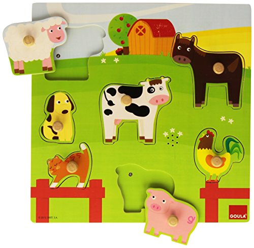 Goula   Puzzle con sonidos de diseño animales granja, 7 piezas ( 53081) , color/modelo surtido