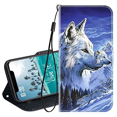 vingarshern Klapphüllen für LG X Mach Schutzhülle Mit Magnetverschluss Flip Etui Lederhülle Handytasche LG X Mach Hülle Klappbares Leder Brieftasche,Wolf Muster-1