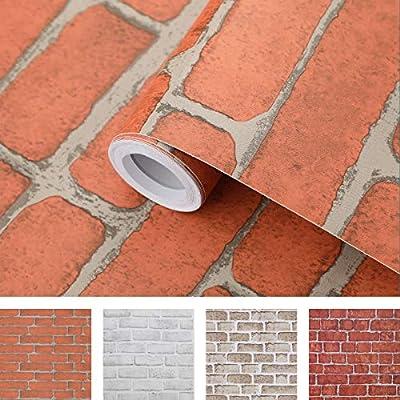 Coavas Brick Wallpaper 17.7x196.6 Inch Stick an...