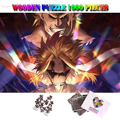 KUANGPT 1000 Piezas de madera Puzzle-Anime Puzzle My Hero Academia Rompecabezas Cartoon Puzzle Juegos Juguetes All-Might - Rompecabezas de madera de 1000 piezas (75X50CM)