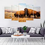 KOPASD Art Impresión Lienzo,Tamaño Grande, Animales de bisontes Americanos -200x100cm Diseño Profesiona/5pcs(Sin Marco)
