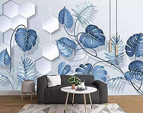 Dipinto a mano Foglie di piante tropicali blu chiaro Murales 3D Soggiorno Divano TV Parete Camera da letto Carta da parati carta da parati 3D fotomurali murale adesivo muro adesiva vintag-400cm×280cm