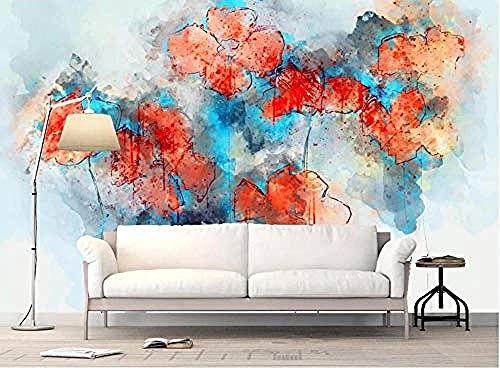 Fondo Artístico Abstracto Flor Rojo Azul Wallpaper Pared Pintado Papel tapiz 3D Decoración dormitorio Fotomural de estar sala sofá mural-430cm×300cm