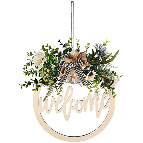 Abilie, cartello decorativo per portico Hello per porta anteriore, ghirlande di benvenuto e grucce per porte esterne, con fiocco rotondo da 30 cm per decorazione della casa