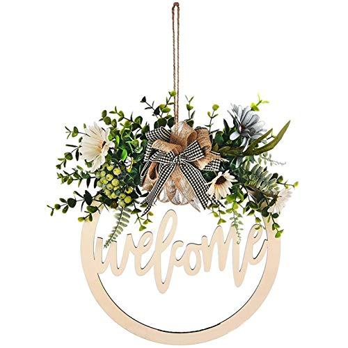 Woyada Welcome/Hello Sign Set di ghirlande da 30,5 cm con gancio rotondo per porta anteriore con fiocco da appendere per esterni, decorazione per la casa