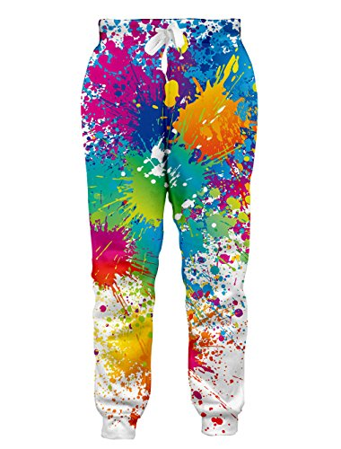 Mens and Womens Cool Joggers Pants Funny 3D Sweatpants Colorful Tie-Dyed Parachute White Jogging Pants L