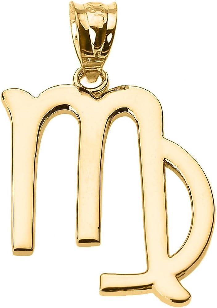 Astrology Jewelry Personalized 10k Yellow Gold Virgo Zodiac Sign Charm Pendant